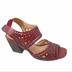L'ARTISTE x SPRING STEP Red Leather Sandal 39 NWT
